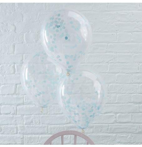 Ballons Confettis Bleu (x5)| Hollyparty
