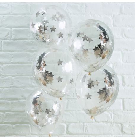 Ballons confettis Etoile Argent (x5)| Hollyparty