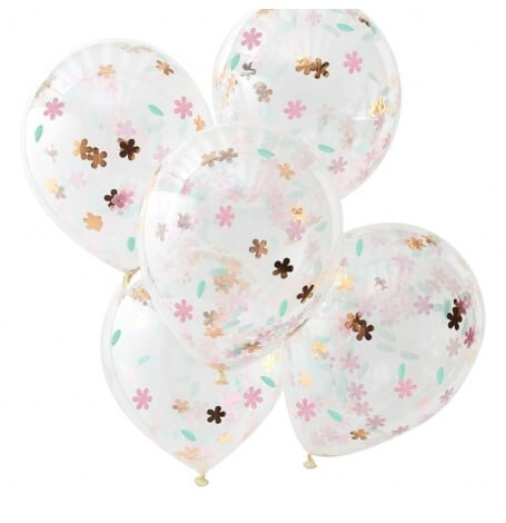 Ballons Confettis Fleur & Rose Gold (x5)| Hollyparty