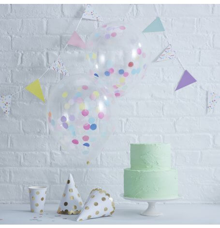 Ballons Confettis Multicolore (x5)| Hollyparty