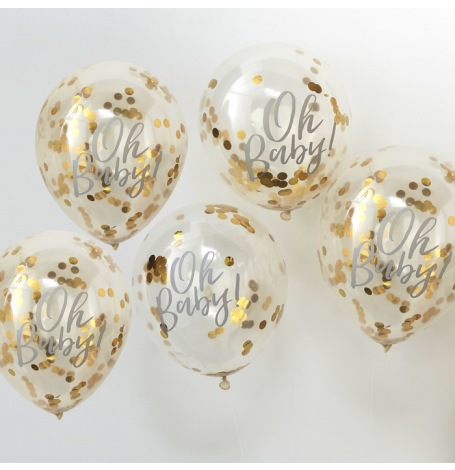 Ballons confettis Or Oh Baby (x5)| Hollyparty