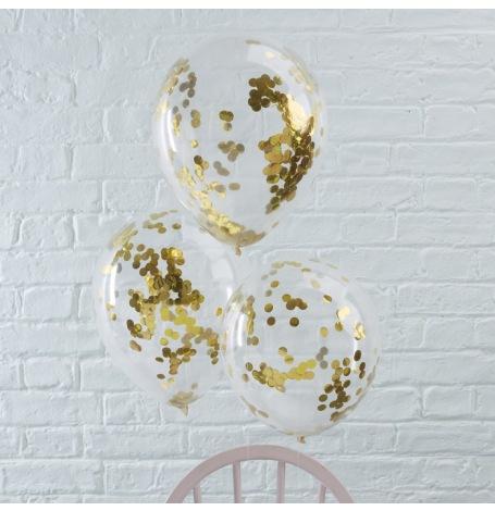 Ballons Confettis Or (x5)| Hollyparty