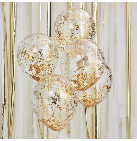 Ballons Confettis Paillette Or (x5) | Hollyparty