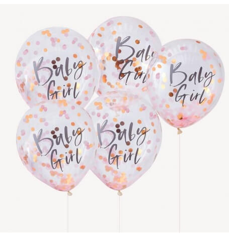 Ballons Confettis Rose Gold Baby Girl (x5)| Hollyparty