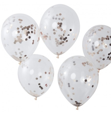 Ballons confettis Rose Gold (x5)| Hollyparty