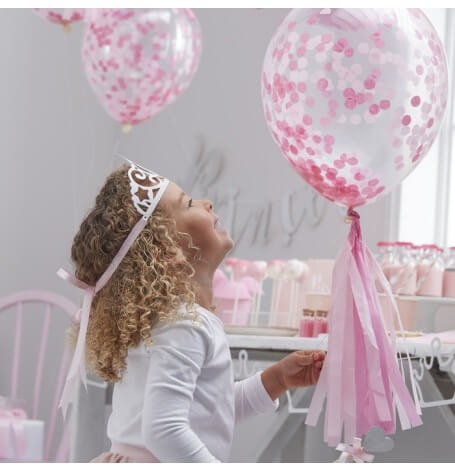 Ballons Confettis Rose (x5)| Hollyparty