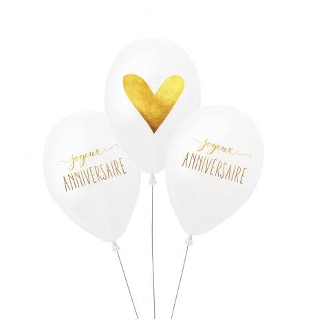 Ballons de baudruche Joyeux Anniversaire Or (x3)| Hollyparty