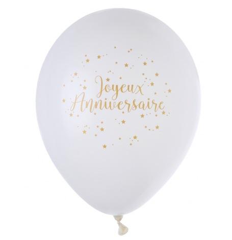 Ballons de baudruche Joyeux Anniversaire Or (x8)| Hollyparty