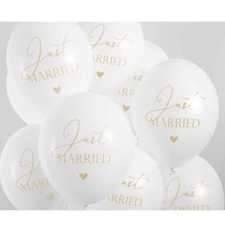Ballons de baudruche Just Married Blanc & Or (x5)| Hollyparty