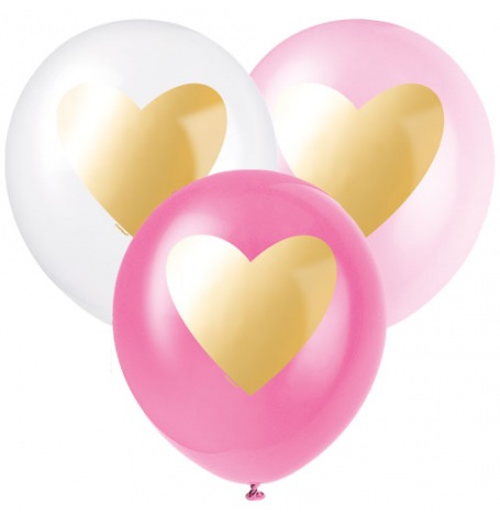 Ballons de baudruche Mix Coeur Rose & Or (x6)| Hollyparty