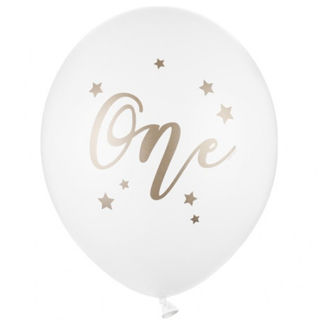 Ballons de baudruche One Blanc & Or (x5)  Hollyparty