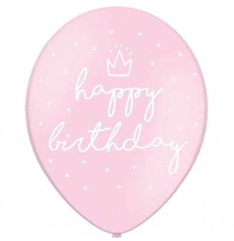 Ballons Happy Birthday Rose Pastel (x6)| Hollyparty