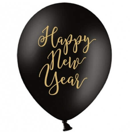 Ballons Happy New Year Noir & Or (x5)  Hollyparty