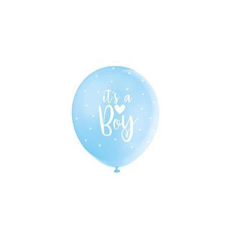 Ballons It's a Boy Nacré Bleu Pastel (x5) | Hollyparty