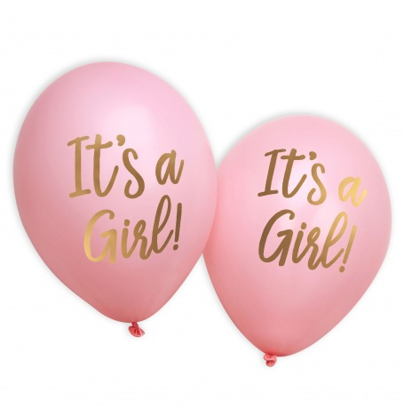 Ballons It's a Girl Rose et Or (x8)| Hollyparty