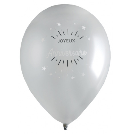 Ballons Joyeux Anniversaire Argent (x8)| Hollyparty