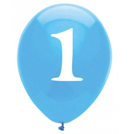 Ballons latex Bleu Chiffre 1 (x6)| Hollyparty