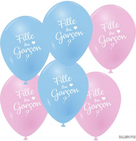 Ballons Latex Bleu Rose Fille ou Garçon (x6)| Hollyparty