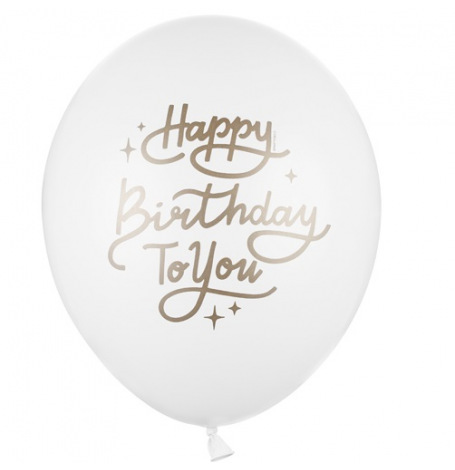Ballons Latex Happy Birthday Blanc & Or (x5)| Hollyparty