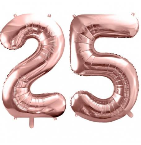 Ballons Mylar Aluminium 25 ans  Rose Gold | Hollyparty