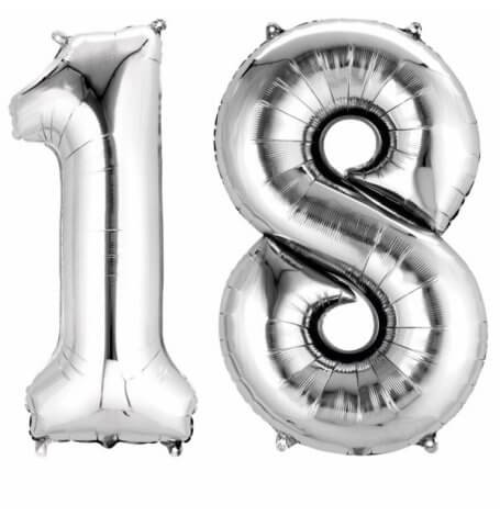Ballons Mylar Aluminium Chiffre 18 ans Argent | Hollyparty