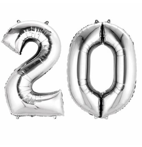 Ballons Mylar Aluminium Chiffre 20 ans Argent   Hollyparty