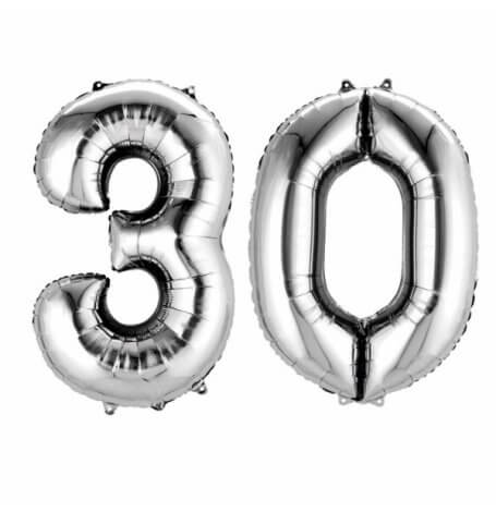 Ballons Mylar Aluminium Chiffre 30 ans Argent | Hollyparty