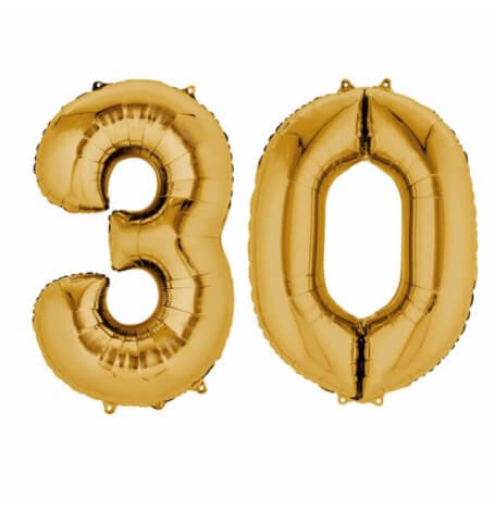 Ballons Mylar Aluminium Chiffre 30 ans Or | Hollyparty