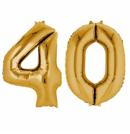 Ballons Mylar Aluminium Chiffre 40 ans Or| Hollyparty