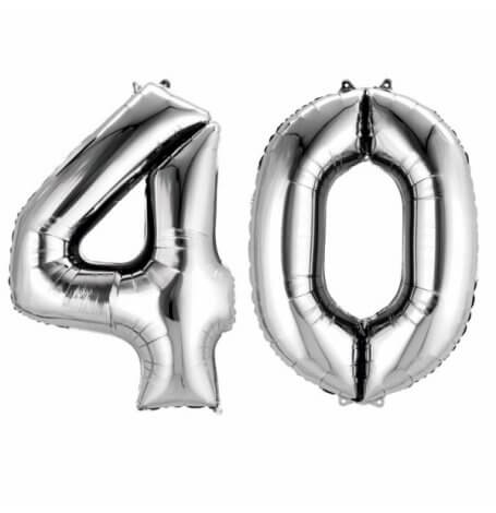Ballons Mylar Aluminium Chiffre 40 Argent| Hollyparty