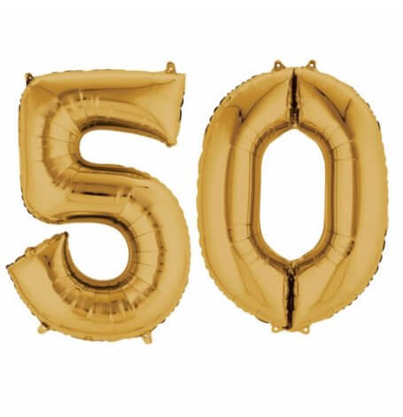 Ballons Mylar Aluminium Chiffre 50 ans Or | Hollyparty