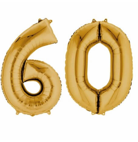 Ballons Mylar Aluminium Chiffre 60 ans Or | Hollyparty