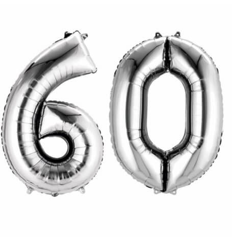 Ballons Mylar Aluminium Chiffre 60 Argent | Hollyparty