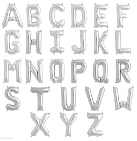Ballons Mylar Aluminium Lettre Argent Alphabet 36 cm| Hollyparty