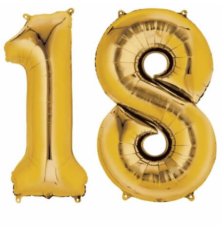Ballons Mylar Aluminium Or Anniversaire Chiffre 18 ans (x2) | Hollyparty