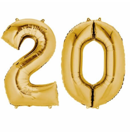 Ballons Mylar Aluminium Or Anniversaire Chiffre 20 (x2) | Hollyparty