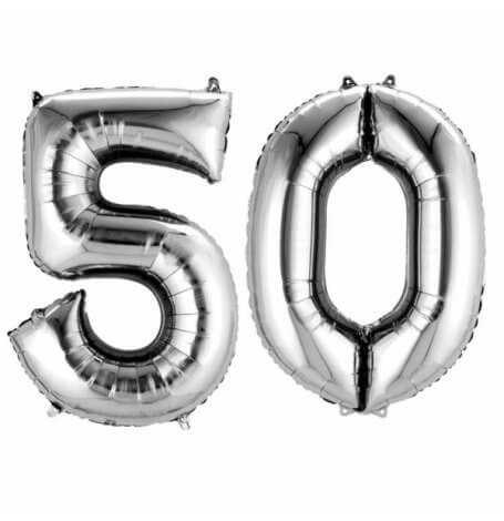 Ballons mylar argent anniversaire chiffre 50 ans| Hollyparty