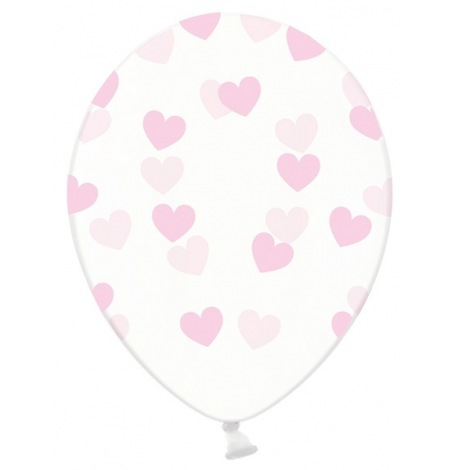 Ballons Transparent Coeur Rose Pastel (x5)| Hollyparty