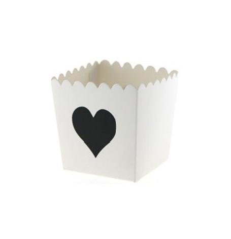 Boîtes à Bonbon Blanc Coeur Noir (x6)| Hollyparty