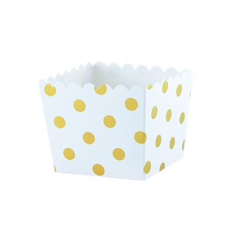 Boîtes à bonbon à Pois Or Métallisé (x6)| Hollyparty