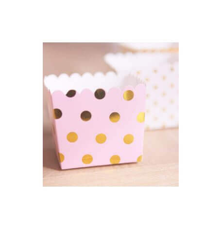 Boîtes à bonbon Rose à Pois Or Métallisé (x6)| Hollyparty