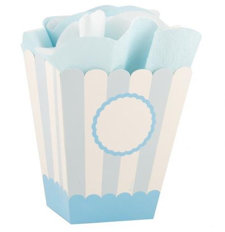Boîtes à Popcorn  Personnalisable Bleu Pastel (x4)  Hollyparty