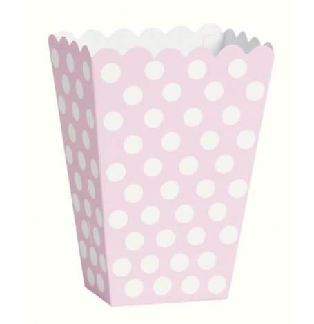 Boîtes à popcorn Pois Rose et Blanc (x8)| Hollyparty
