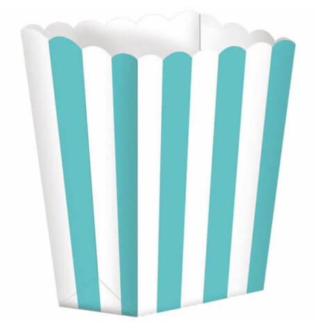 Boîtes à Popcorn à Rayure Bleu Vert (x5)| Hollyparty