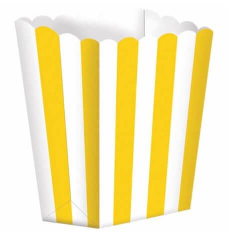 Boîtes à Popcorn à Rayure Jaune (x5)| Hollyparty