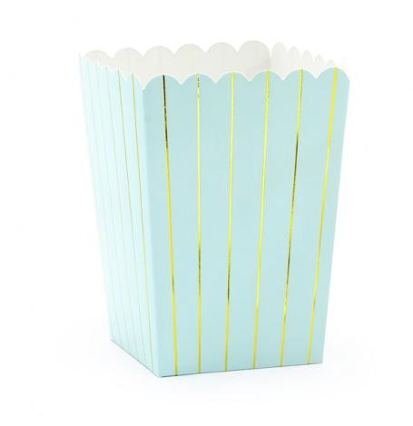 Boîtes à Popcorn Rayure Mix Bleu (x6)| Hollyparty