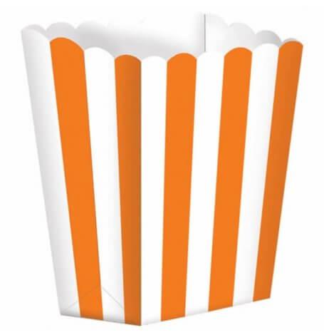 Boîtes à Popcorn à Rayure Orange (x5)| Hollyparty