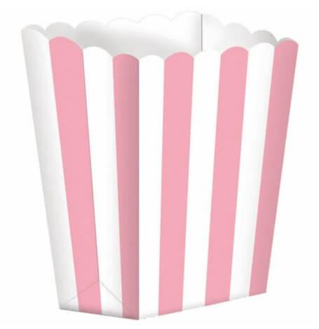 Boîtes à Popcorn à Rayure Rose (x5)| Hollyparty