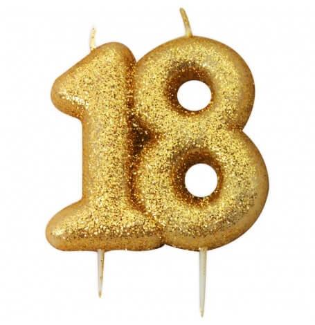 Bougie anniversaire or pailleté 18 ans | Hollyparty