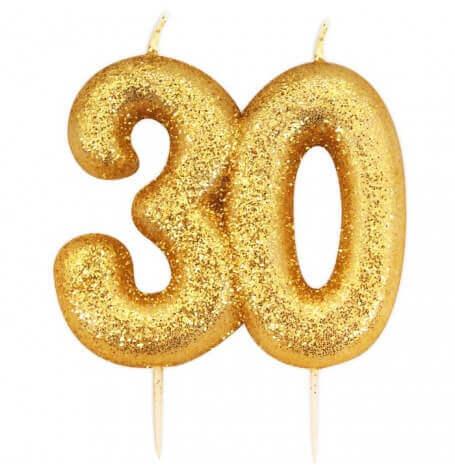 Bougie anniversaire or pailleté 30 ans| Hollyparty